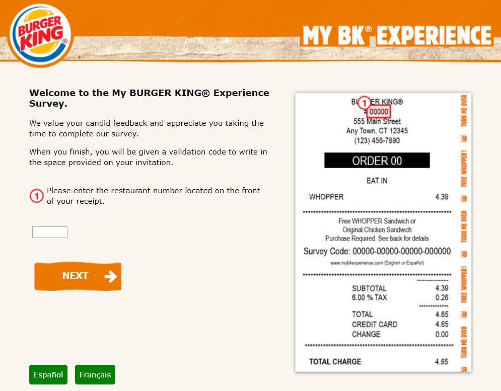 entwr my bkexperience survey for free whopper